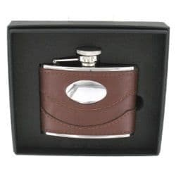4oz Brown Leather Hip Flask with engraving plate RRP £36.99 25% off