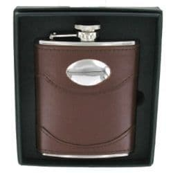 6oz Brown Leather Hip Flask with engraving plate RRP £39.99 25% off