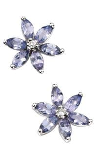 9ct White Gold Diamond and Tanzanite Flower Earrings