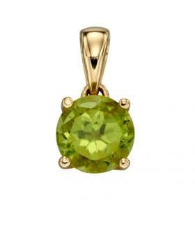 """9ct Yellow Gold August Birthstone Pendant & 18"""" Curb Chain"""