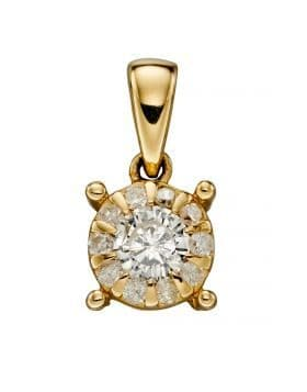 "9ct Yellow Gold Diamond Cluster April Birthstone Pendant & 18"" Curb Chain"