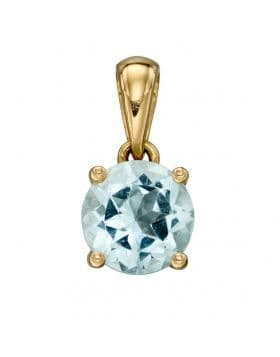 """9ct Yellow Gold March Birthstone Pendant & 18"""" Curb Chain"""
