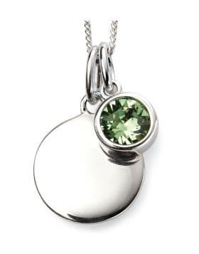 Birthstone And Engravable Silver Disc Necklace - August