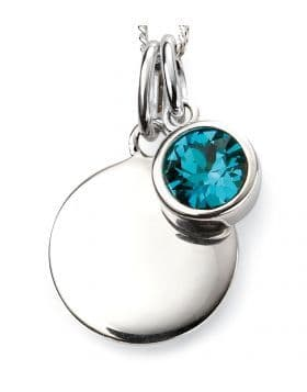 Birthstone And Engravable Silver Disc Necklace - December