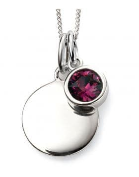 Birthstone And Engravable Silver Disc Necklace - February