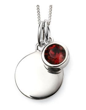 Birthstone And Engravable Silver Disc Necklace - January