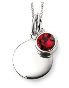 Birthstone And Engravable Silver Disc Necklace - July