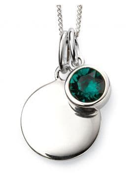 Birthstone And Engravable Silver Disc Necklace - May
