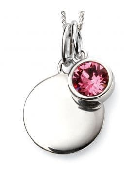 Birthstone And Engravable Silver Disc Necklace - October