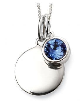 Birthstone And Engravable Silver Disc Necklace - September
