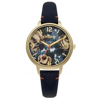 Cath Kidston Oxford Rose Deep Blue Leather Strap Watch