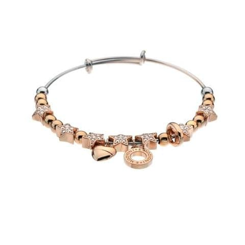 Crystal Star Bangle Rose Gold Plated from the Emozioni collection