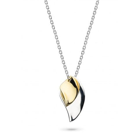 """Enchanted Double Leaf Small Gold Plate 18"""" Necklace"""
