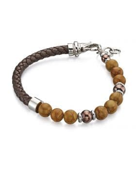 Fred Bennett Brown Bead And Blue Leather Bracelet B4871