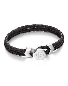 Fred Bennett Button Fastening Stainless Steel And Black Leather Bracelet B4977