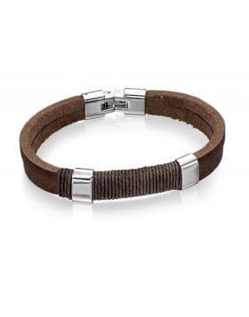 Fred Bennett Stainless Steel Brown Leather And Wrapped Cord Bracelet 22cm B4558