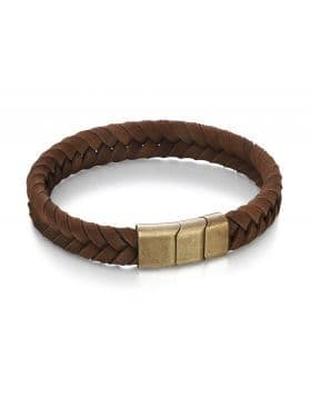 Fred Bennett Stainless/Steel Gold Brushed Clasp Brown Leather Bracelet B4985