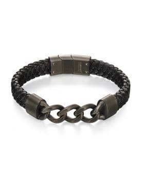 Fred Bennett Stainless Steel Gunmetal Curb Chain And Plait Bracelet (2 sizes)