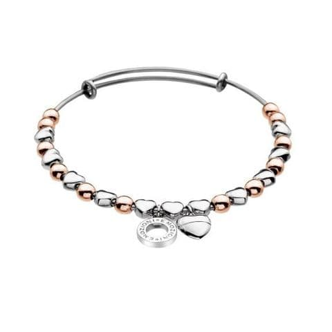Heart Bangle Rose Gold & Silver Plated from the Emozioni collection