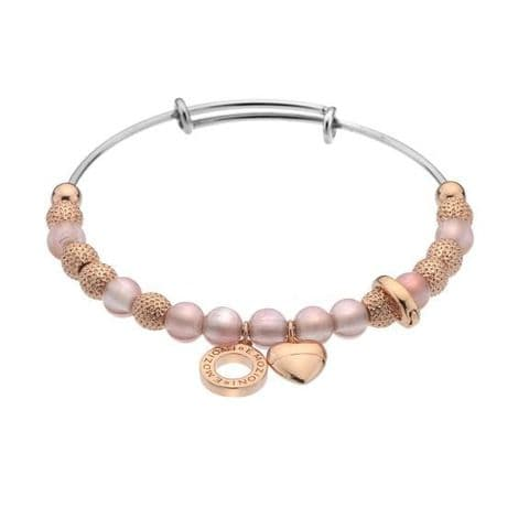 Rose Quartz Ula Bangle Rose Gold Plated from the Emozioni collection