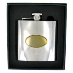 Stainless  Steel Hip Flask with Gold Badge 6oz RRP £30.99 25% off