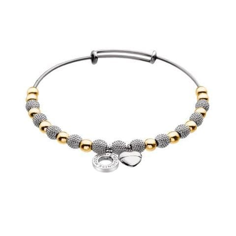 Ula Yellow Gold & Silver Plated Bangle from the Emozioni  collection