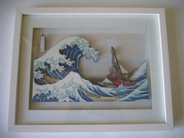 Legend of Zelda Great Wave Off Kanagawa Diorama Shadow Box