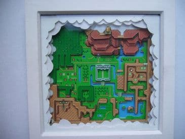 Legend of Zelda Hyrule 3D Map Art Diorama Shadow Box