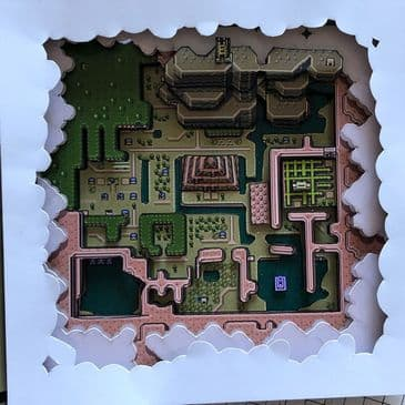 Legend of Zelda Hyrulian Map Dark World 3D Diorama Shadow Box