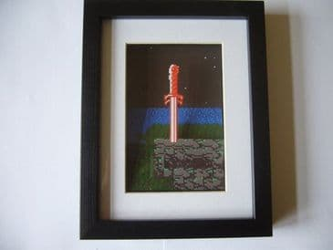 Links Sword in 8 Bit 3D Diorama Shadow Box