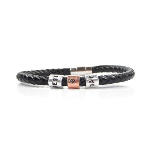 Best Dad Leather Bracelet with Hand Stamped Rings - Free Delivery