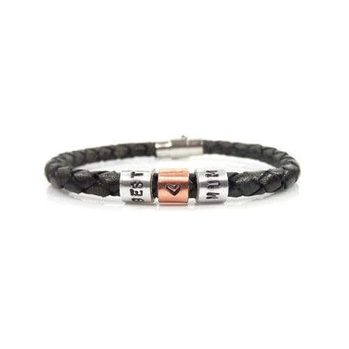 Best Mum Leather Bracelet with Hand Stamped Rings - Free Delivery