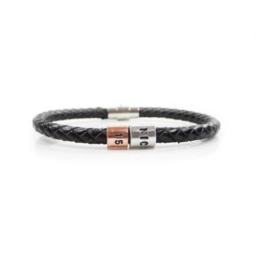 Personalised 15th Birthday Leather Bracelet – Gift Boxed – Free Delivery