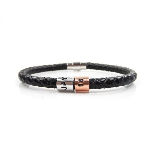 Personalised 16th Birthday Leather Bracelet – Gift Boxed – Free Delivery