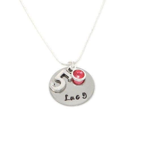 Personalised 5th Birthday Birthstone Necklace - Gift Boxed & Free Delivery UK