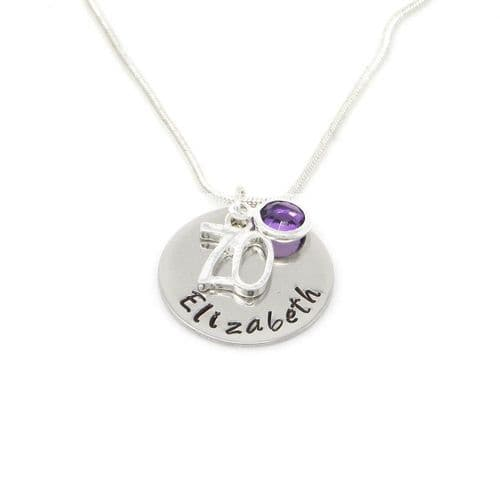 Personalised 70th Birthday Birthstone Necklace - Gift Boxed & Free Delivery UK