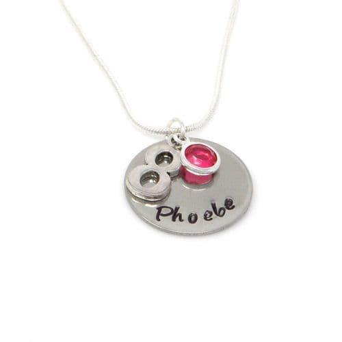 Personalised 8th Birthday Birthstone Necklace - Gift Boxed & Free Delivery UK