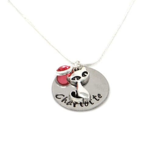 Personalised Cat Pendant Necklace with Birthstone Charm – Gift Boxed & Free Delivery UK