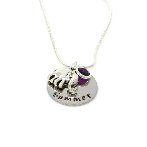 Personalised Elephant Pendant Necklace with Birthstone Charm – Gift Boxed & Free Delivery UK