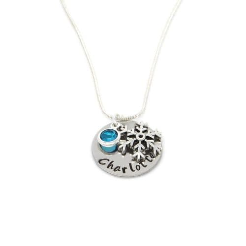 Personalised Frozen Snowflake Pendant Necklace with Birthstone Charm – Gift Boxed & Free Delivery UK