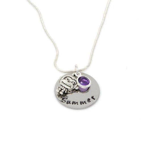 Personalised Monkey Pendant Necklace with Birthstone Charm – Gift Boxed & Free Delivery UK