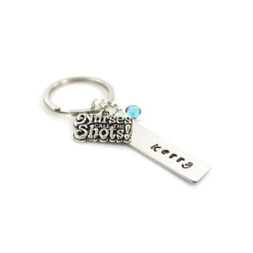 Personalised Nurse Keyring with Birthstone Charm – Free Delivery UK & Gift Box
