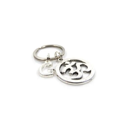 Personalised Ohm  Keyring with Initial Charm and Optional Birthstone