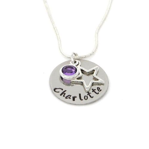 Personalised Star Pendant Necklace with Birthstone Charm – Gift Boxed & Free Delivery UK