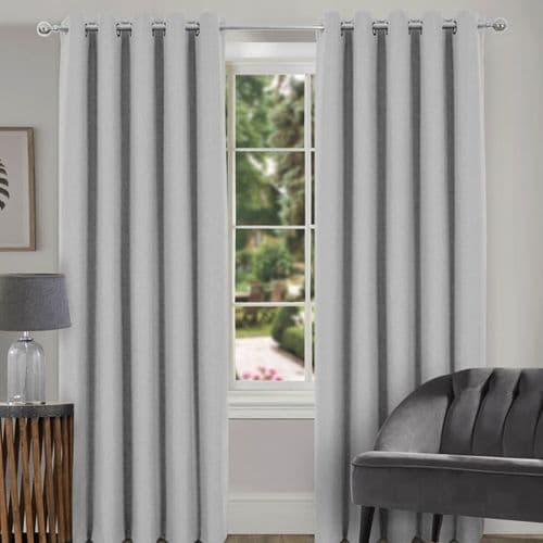 Spencer Plain faux wool blackout eyelet curtain pale grey