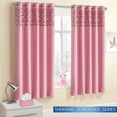 Unicorn Black Out Curtains Pink