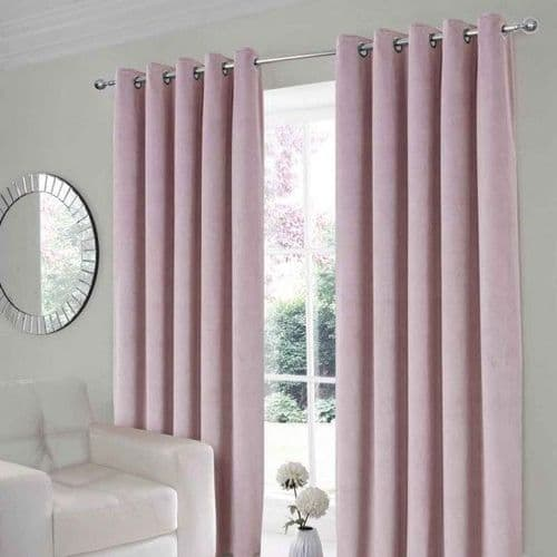 Velour Soft eyelet curtains Pink