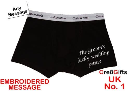 Personalised Mens Boxer Shorts Calvin Klein - Groom's Lucky  - ON THE LEG