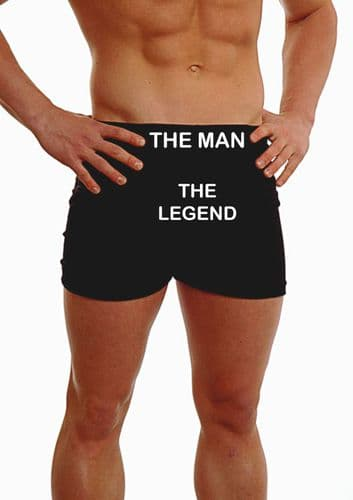 PERSONALISED MENS HIPSTER BOXER SHORTS - EMBROIDERED - ANY MESSAGE THE MAN THE LEGEND