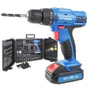Hyundai HY2175 18v Li-Ion Cordless Drill Driver + 89 Drill Bit Accessories & Carry Case